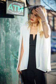 White Cape: Nasty Gal Jumpsuit: Top Shop