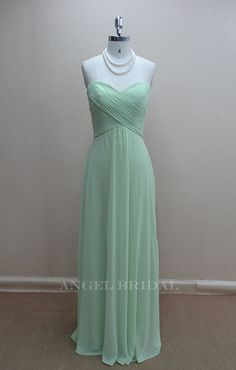 Simple  Chiffon Light sage Long bridesmaid dress by AngelBridal, $110.00