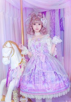 Moonlight Forest -Fantasy Castle- Lolita Jumper Dress Version II with Overskirt