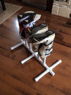 Easy to build, portable DIY PVC boot drying rack – Garage Organization DIY Motocross Bedroom, Motocross Gear, Motocross Funny, Dirt Bike Room, Dirt Bike Gear, Dirt Biking, Garage Organization, Garage Storage, Organizing