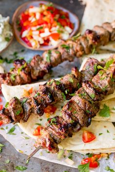 Marinated succulent lamb, juicy and beautifully charred. These Greek Lamb Souvlaki Kebabs are so tasty. Cook them on the BBQ for added flavor! Kabob Recipes, Grilling Recipes, Cooking Recipes, Savoury Recipes, Healthy Cooking, Healthy Food, Greek Lamb Recipes, Greek Lamb Kebab Recipe, Lamb Marinade