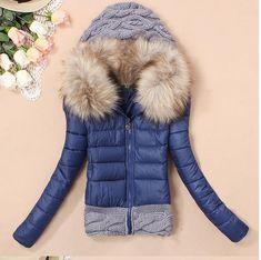 WarmFire Women's winter cotton coat fur collar hooded short jacket Parka outwear Deep Blue at Amazon Women's Coats Shop