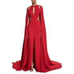 Naeem Khan Cutout Silk Crepe Gown w/Cape ($6,990) ❤ liked on Polyvore featuring dresses, gowns, red and naeem khan