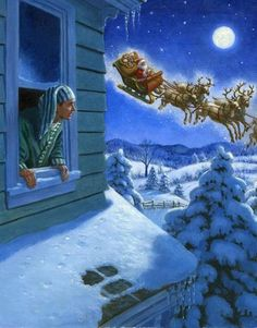 """""""Twas The Night Before Christmas"""", by American artist and illustrator - Ruth Sanderson -) Christmas Scenes, Noel Christmas, Merry Little Christmas, Vintage Christmas Cards, Christmas Pictures, Winter Christmas, Christmas Crafts, Christmas Decorations, Christmas Mantles"""
