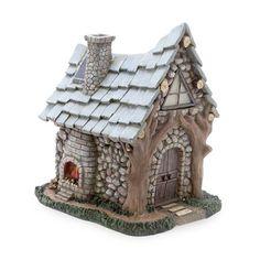 Miniature Fairy Garden Solar Fireside Cabin, L x W x H, Brown Faux Stone Siding, Charitable Donations, Lawn Ornaments, Miniature Fairy Gardens, Fairy Houses, Rustic Charm, Lawn And Garden, Solar, Miniatures