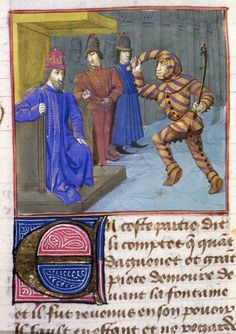 "Lancelot du Lac (BNF Fr. 112(1), fol. 45), c. 1470. This definitely shows the ""scarlet with gold stripes"" that Norris described."