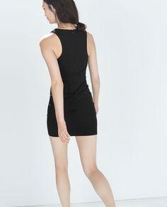 Image 3 of DRESS WITH ASYMMETRIC RUFFLE NECK from Zara Zara Fashion, Zara Dresses, Basic Tank Top, Tank Tops, Image, Women, Style, Swag, Halter Tops