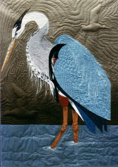 Great Blue Heron wall quilt (c)Pat Dolan - featured on the back cover of Joyce Schlotzhauer's book on curved two-patch quilting