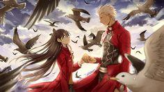 Archer (Fate/Stay night) and Tohsaka Rin Fate Stay Night Rin, Fate Stay Night Series, 3d Fantasy, Fantasy Warrior, Fate Archer, Tohsaka Rin, Shirou Emiya, Beauty Night, Fate Anime Series