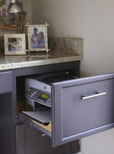 Kitchen Office Area - HGTV Remodels printer inside filing cabinet drawer