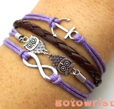 Infinity Anchor Two Owls Bracelet Antique Silver by gotowrist, $4.99