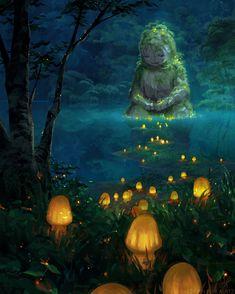 Fantasy Forest, Magic Forest, Forest Art, Forest Illustration, Fantasy Dragon, Fantasy Landscape, Anime Scenery, Fantastic Art, Fantasy Creatures