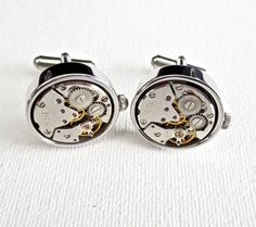 Steampunk Watch Cufflinks Cuff Links Wedding Groom Groomsmen Groomsman Gift