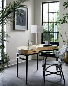 John Bronze Table Lamp + Reviews | CB2 Home Office Design, Home Office Decor, Home Decor, Office Ideas, Office Designs, Black Rattan Chair, Leather Chairs, Rattan Chairs, Dining Chairs