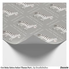 Cut Baby Zebra Safari Theme Party or Shower Wrapping Paper - baby birthday sweet gift idea special customize personalize Kids Birthday Gifts, Baby Birthday, Kids Gifts, Safari Theme Party, Party Themes, Ideas Party, Gift Ideas, Baby Zebra, Newborn Baby Gifts