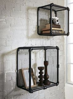 Industrial Loft Style Pipe & Wire Shelves Display Set Of 2 Black Metal Wall Baskets. A great set of shelves in an up-to-date industrial design. Industrial styled wall units, that look like they were made out of old pipes. | eBay!
