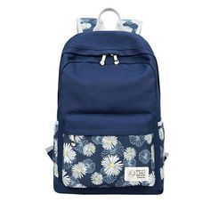 Fashion Teenager Girls School Bags Set Canvas Backpacks Cute Floral Rucksack Backpack+Shoulder Bag+Purse