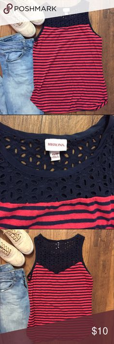 Red and Blue striped Tank with Eyelet Detailing This tank by Merona is super cute and can be worn in any season. The tank is red and navy striped with navy eyelet detailing at the top that continues onto the back. Pair this tank with jeans and Vans and you are good to go! Great pre-loved condition. Ask me any questions :) Merona Tops Tank Tops