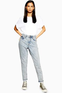 441d6b7c102 PETITE Bleach Acid Wash Mom Jeans
