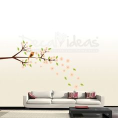 Blossom Branch with Falling Leavesand cute Bird   by decalideas, $86.00