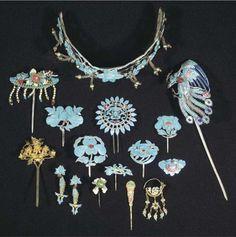 Kingfisher hair ornaments