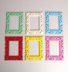 PICTURE FRAME MINI  COLOURFULL RUBBER FRIDGE MAGNETS SHABBY CHIC VINTAGE STYLE