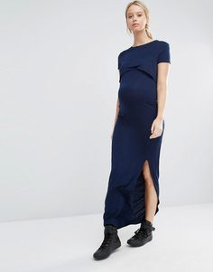 Club Lounge Maternity | Club L Lounge Maternity Double Layer Jersey Maxi Dress at ASOS