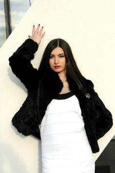 Andreea Dumitru wearing Iulia Hodoleanu's dress.