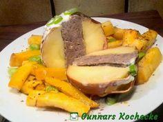 Herzhafter Bratapfel mit Hackfleischfüllung und Ofen-Süßkartoffeln - #Rezept