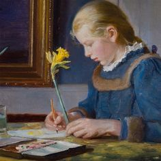 """Helga Ancher painting daffodils in watercolors"" (1896) [Detail] (Helga, the Artist's daughter) By Michael Peter Ancher (Denmark, 1849 - 1927)"