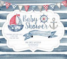 Watercolor Nautical Clipart Patterns Digital by LagartixaShop Nautical Baby, Nautical Wedding, Baby Shower Virtual, Baby Shower Sheet Cakes, Marine Baby, Baby Boy Wreath, Nautical Clipart, Envelopes, Baby Shower Invitaciones