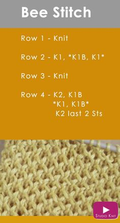 How to Knit the BEE Stitch Easy Free Knitting Pattern Video Tutorial with Studio . To knit the BEE Stitch Easy Free Knitting Pattern video tutorial with Studio Knit via , How to Knit the BEE Stitch Easy Free Knitting Patt. Knitting Stiches, Easy Knitting, Knitting Needles, Knitting Patterns Free, Knit Patterns, Stitch Patterns, Knit Stitches, Free Pattern, Pattern Ideas