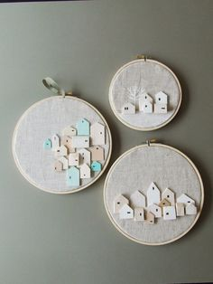 THE 3 SISTERS Set of 3 tiny wooden house hoop  di InLittleHouses