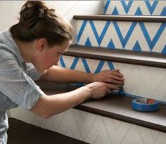 DIY chevron stairs: painter's tape or make a stencil