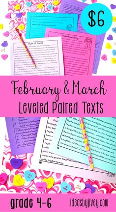 "Use these leveled paired passages with your students to integrate high-interest, engaging informational passages that are great for the ""Big Kids"" in February and March: the history and origin of Valentine's Day, the myth of Cupid, George Washington's short biography, New Nation (about our early government), the history of St. Patrick's Day, and a poem called ""Pot of Gold"" from 1899. #pairedtexts #readingactivities"