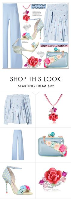 """""""Shimmy, Shimmy: Off-Shoulder Tops"""" by spenderellastyle ❤ liked on Polyvore featuring SUNO New York, Dolci Gioie, Christopher Kane, Sophia Webster and showsomeshoulder"""