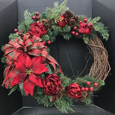 Large Red Peony and Poinsettia Wreath by Andrea