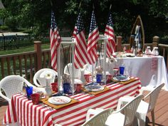 Patriotic Nautical Tablescape!!! Bebe'!!! Love The Red, White, And Blue!!!