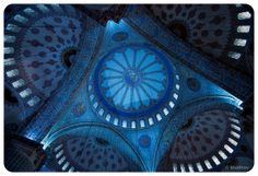 Interior view of Blue Mosque Main dome. Blue Mosque, Mosques, Islamic Art, Calligraphy, Interior, Travel, Lettering, Viajes, Indoor