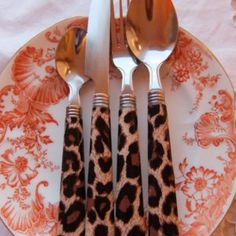 Leopard Print Cutlery Set