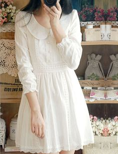 Japanese pure and fresh and sweet long-sleeved dress
