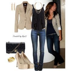 Beige and Black, created by dlp22 on Polyvore