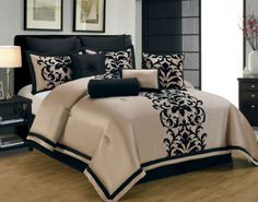 10 Piece Queen Dawson Black and Gold Comforter Set   eBay