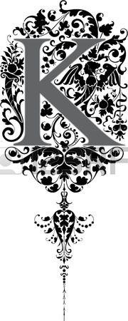 Estilo fantasía, alfabeto Inglés, letra K, en escala de grises Foto de archivo - 23262823