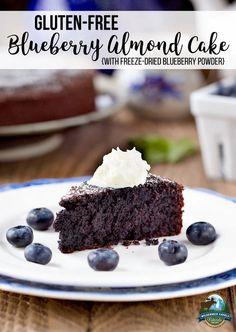Gluten-Free Blueberry Almond Cake {with freeze-dried blueberry powder} Gluten Free Cakes, Gluten Free Baking, Gluten Free Desserts, Healthier Desserts, Healthy Baking, Dried Berries, Dried Blueberries, Organic Recipes, Raw Food Recipes