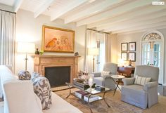 Courtney Hill Interiors - Portfolio - Living Spaces...seating arrangment and ceiling