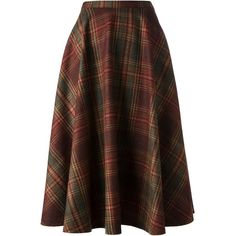 SOCIETE ANONYME high waist skirt (€165) ❤ liked on Polyvore featuring skirts, bottoms, plaid skirt, plaid circle skirt, brown skater skirt, plaid wool skirt and skater skirt