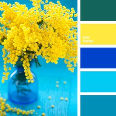 Color Palette Combination of blue and deep blue shades of different intensity makes the yellow color look even brighter. This mix will be good for summer breakfast outsi. Colour Pallette, Colour Schemes, Paint Schemes, Color Azul, Green Color Palettes, Blue Yellow Kitchens, Kitchen Yellow, Kitchen Colors, Kitchen Ideas