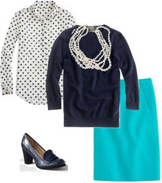 """""""dots navy jade pearls"""" by kitkat-cda ❤ liked on Polyvore"""