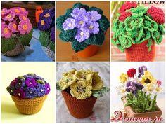 flores de ganchillo de punto en una olla